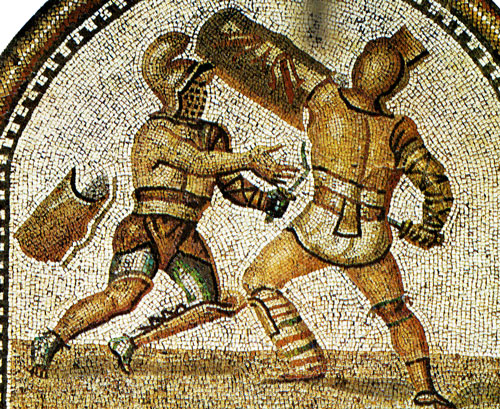 Mosaic - Gladiators fighting