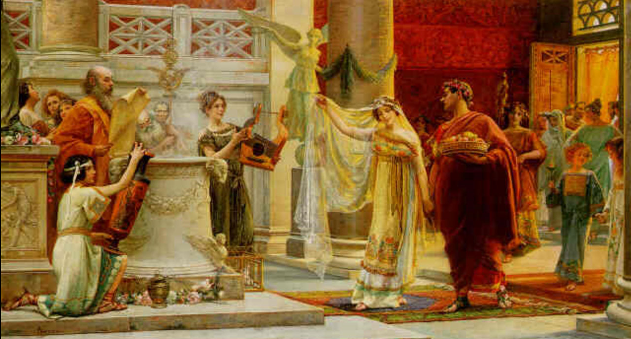 marriage in ancient rome Marriage in ancient rome to us in the modern western world, marriage is an occasion for two people to publicly proclaim their love for each other and their desire to build a life together since love had nothing to do with a roman marriage we are entitled to ask what was its purpose in their eyes.