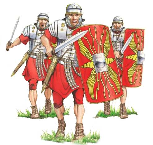 Roman soldiers attacking art on Romans in Britain website