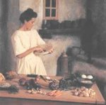 Woman in Roman kitchen - facing right