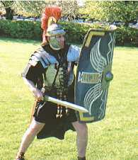 Roman soldier in battle stance